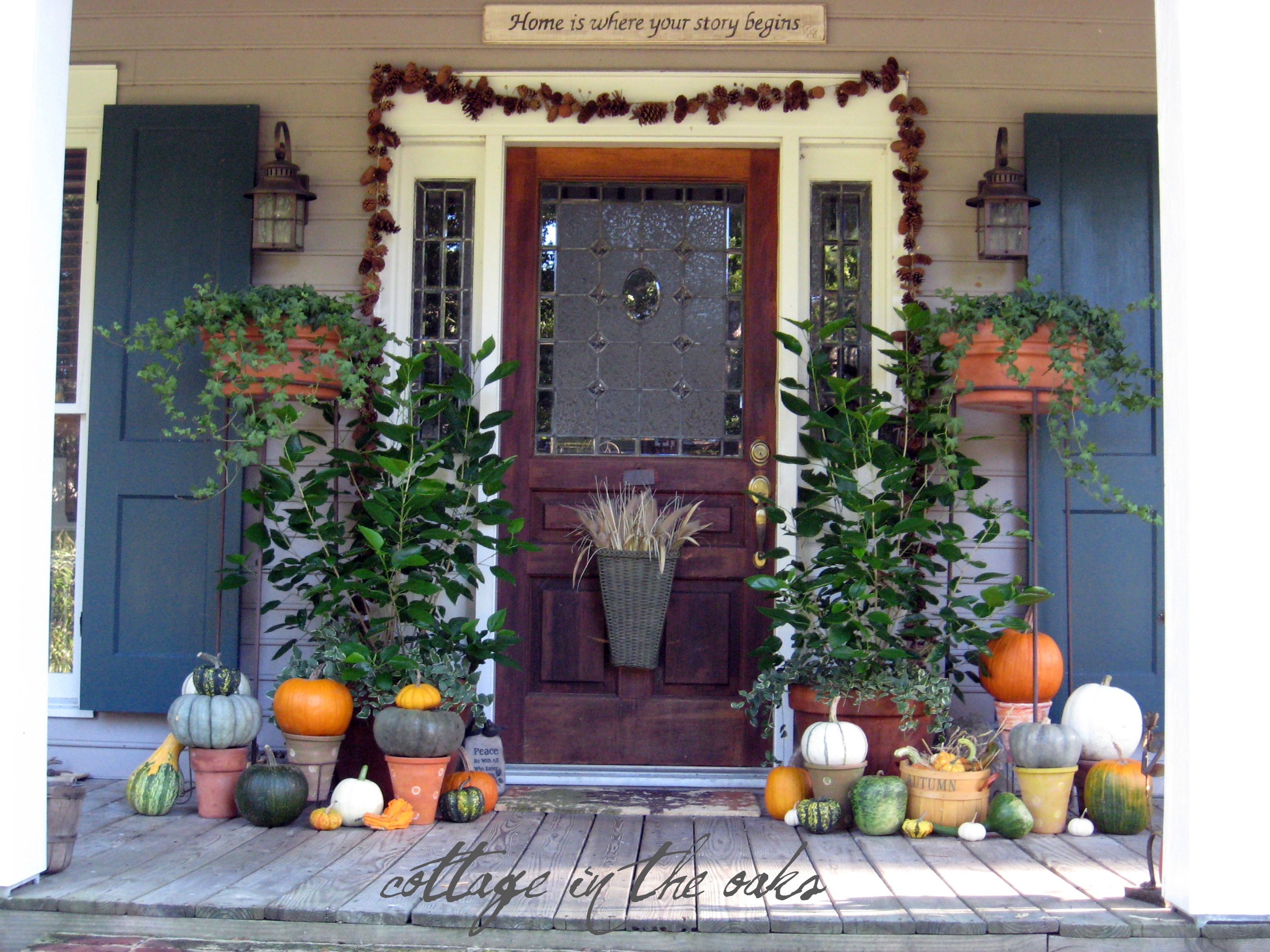 autumn door decor cottage in the oaks. Black Bedroom Furniture Sets. Home Design Ideas