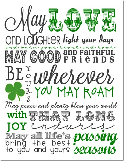 photo about Printable Irish Blessing called Irish Blessing Free of charge Printable - Cottage within just the Oaks