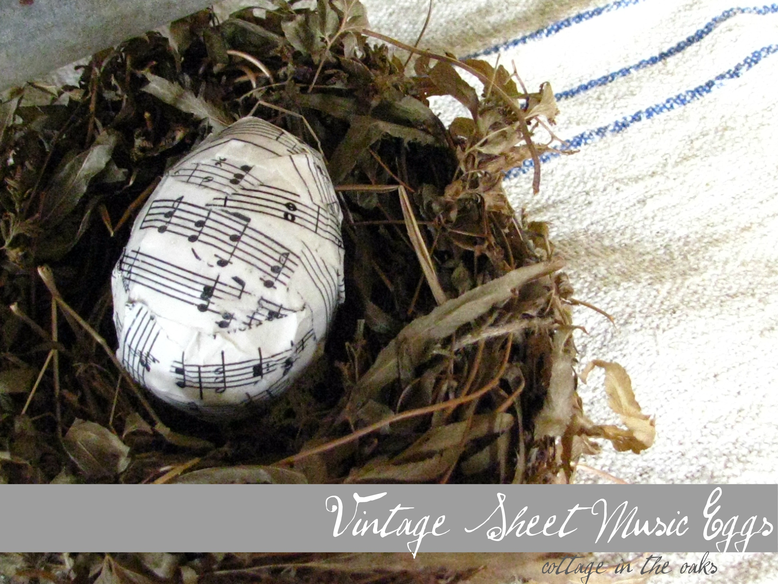 Vintage Sheet Music Eggs - Cottage in the Oaks