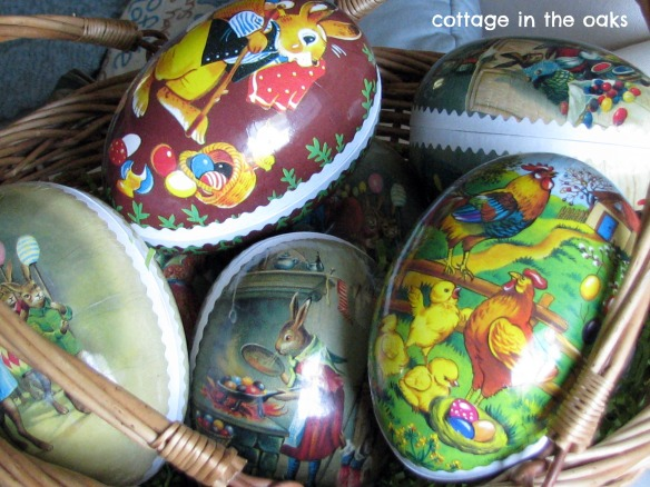basket of vintage easter eggs 2