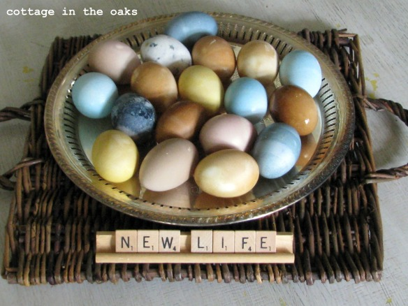 naturally dyed eggs on silver tray