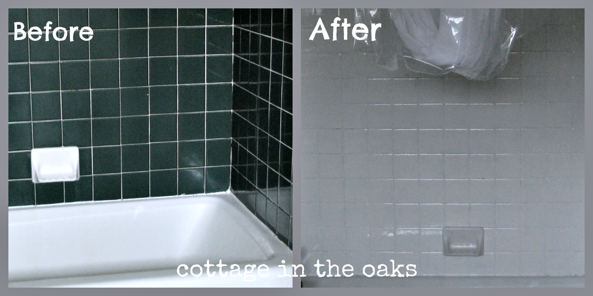 Refinishing tile our miracle method cottage bath makeover cottage in the oaks - Can i paint over bathroom tiles ...