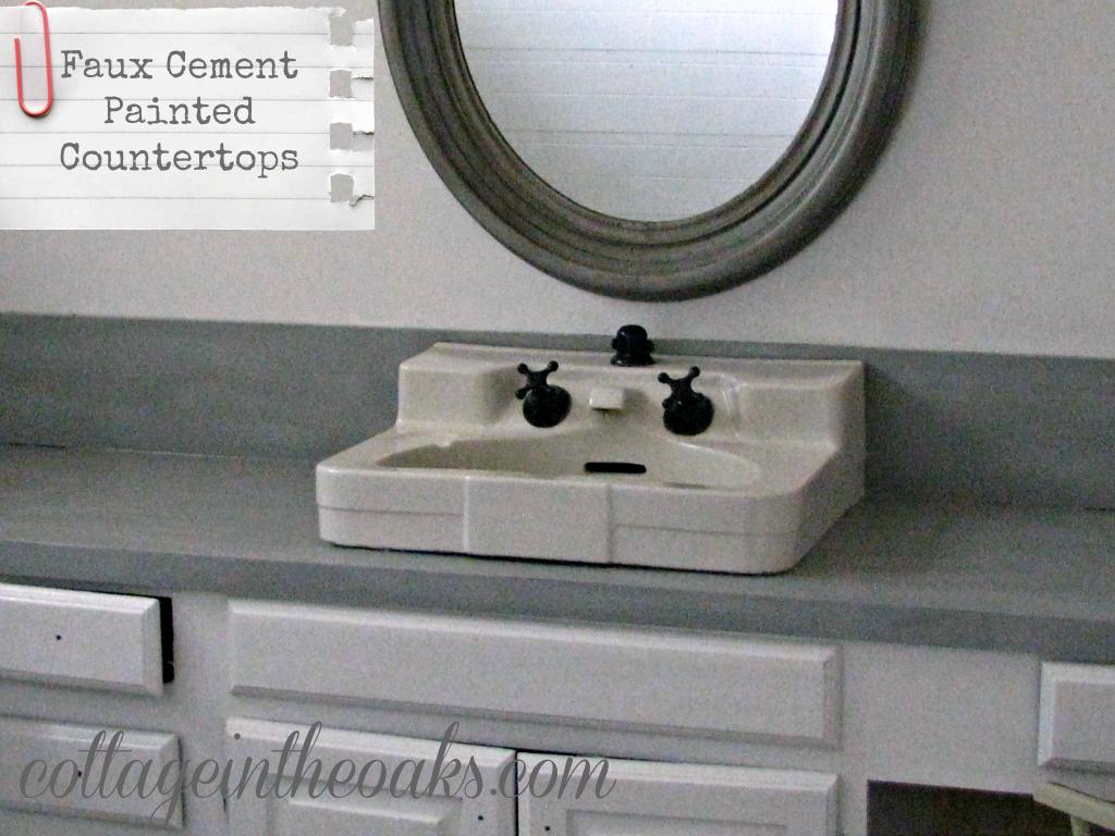 Faux Cement Concrete Painted Countertops Cottage