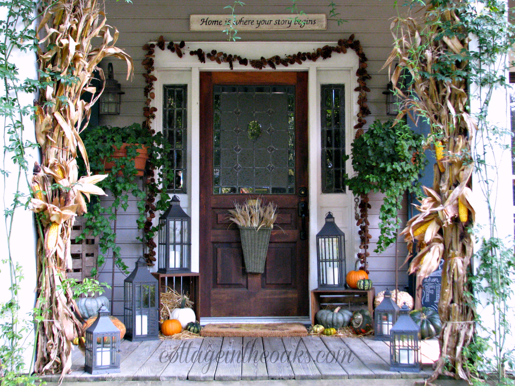 The porch in autumn fall front porch cottage in the oaks for Patio decoration images