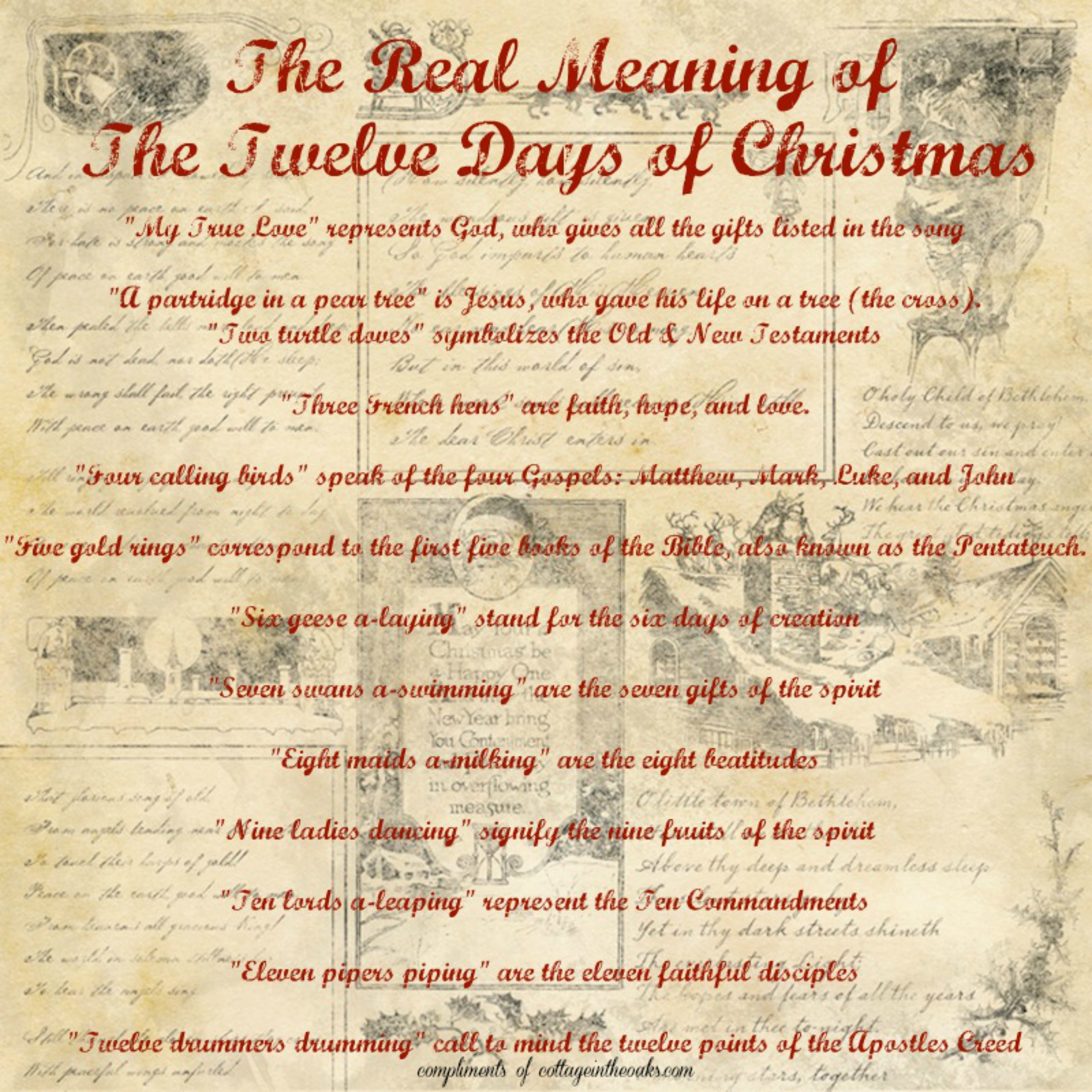 Meaning of 12 days of christmas - 12 days of christmas_cottage in the oaks
