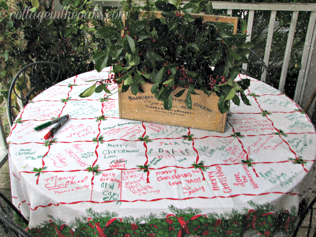 christmas table on front porch