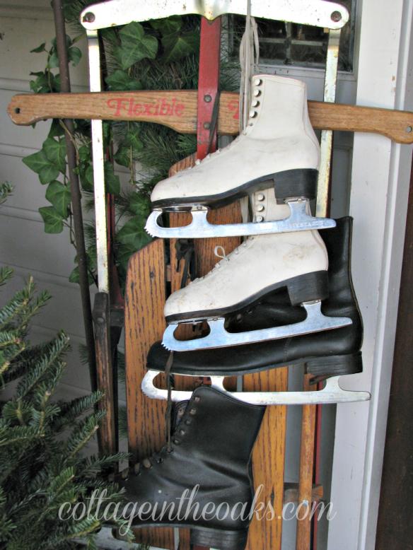 ice skates on sled