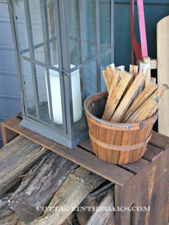 vintage fatwood basket on porch
