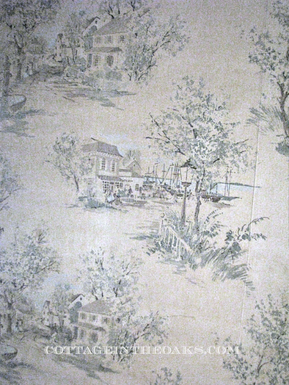 vintage wallpaper in farmhouse