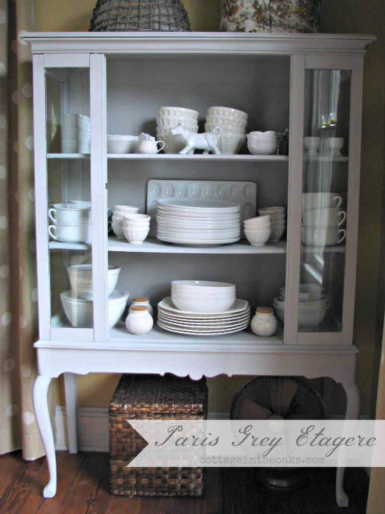 paris grey etagere china cabinet. Black Bedroom Furniture Sets. Home Design Ideas