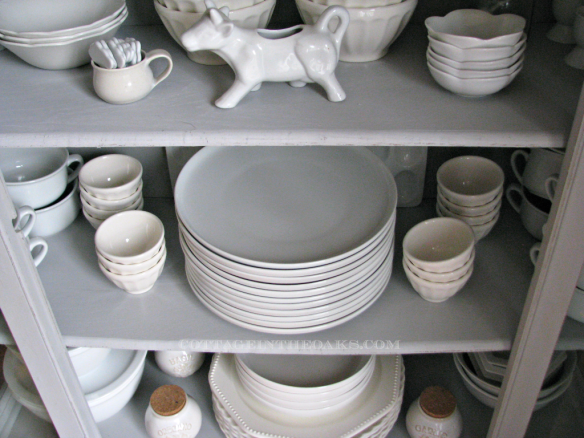 white dishes in etagere